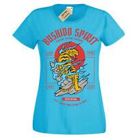 Bushido Spirit T-Shirt Tiger japanese Womens Ladies