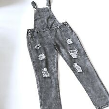 Black RIPPED DENIM DUNGAREES 14 maternity women's hipster indie retro overalls