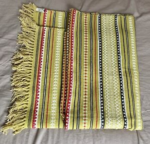 Vintage cotton rug blanket throw made in India hand woven mustard yellow