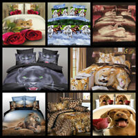 3D Effect Duvet Covers Animal Print Bedding Sets Pillowcase Single Double & King