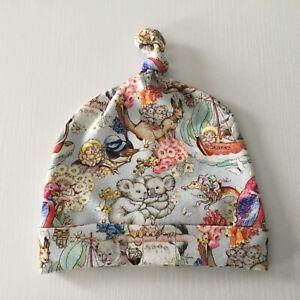Handmade Baby Knot Hat Beanie ~ May Gibbs Gumnut Babies Print #6