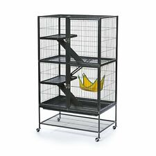 Ferret Cage Spacious Home Metal Frame 3 Platforms Ramps 1 Hammock Durable Black