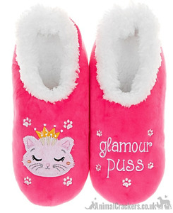 Ladies Snoozies Pink Cosy washable Glamour Puss slippers Princess Cat lover gift