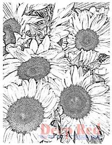 Deep Red Stamps Sunflowers Background Rubber Cling Stamp