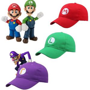 New Super Mario Bros Luigi Waluigi Baseball Cap Embroidered Hat Anime Cosplay UK