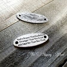 Quote Pendant-Word Pendant-Inspirational Word Charm-Connector-BRAVER STRONGER