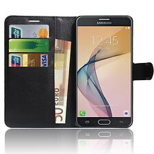 Premium Leather  BLACK  Wallet phone case for Samsung Galaxy J7 Prime (SM-G6100)