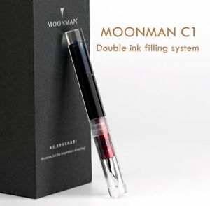 Moonman C1 Transparent Eyedropper Fountain Pen F Nib Ink Pen Original Box