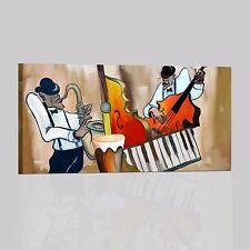 QUADRI DIPINTI A MANO MUSICA QUADRO CON MUSICISTI SASSOFONISTA TASTERISTA