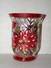 POINTSETTIA CARDINAL LARGE HURRICANE CRACKLE GLASS CANDLE HOLDER NWTS