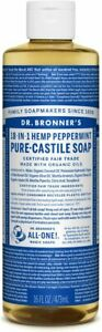 NEW Dr. Bronner's Pure-Castile Soap Liquid 18-in-1 Hemp Peppermint 473ml