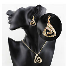 High Quality 18KGP Zircon Chain Pendant Necklace Earrings Woman Jewelry Sets