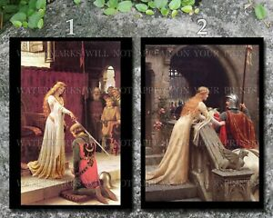 Edmund Leighton art photo repro 5x7 lot Accolade God Speed medieval knight queen