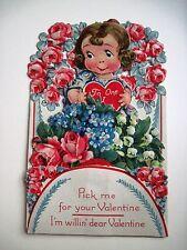 Vintage Antique Die Cut German Valentine w/ Sweet Girl, Robin & Red Roses *