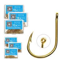 50 Pcs/lot Fishing Hooks Big Hook High Carbon Steel Bait Holder Fishhook Gold