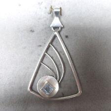 ❂ ► Schönes Design, Anhänger Silber mit blauem Stein, gestempelt: Rusch 835