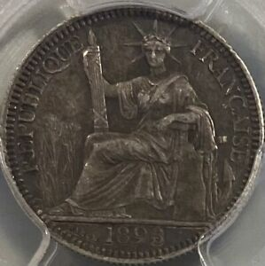 French Indochina Silver 1893 10 Centimes Cents PCGS AU50 RRRare