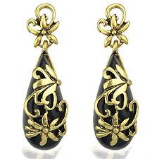 "Thompson Luxury ""Agatha"" Ohrringe, schwarz m. goldenen Ornamenten UVP 19,90 €"