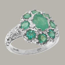 Solid 9ct White Gold Natural Emerald Womens Cluster Ring - Sizes J to Z
