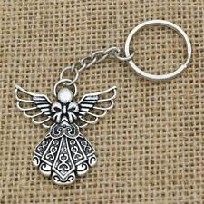 Antique Silver Plated Big Guardian Angel Pendant Key Chain Jewelry Key Rings