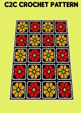 Flame Flower Blanket  - C2C Graphghan Crochet Pattern