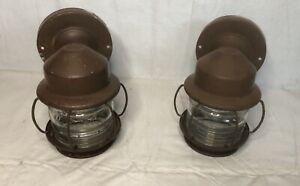 LOT OF 2 VINTAGE METAL PORCH LIGHT SCONCE RIBBED GLASS JAR BARREL GLOBE SHADE