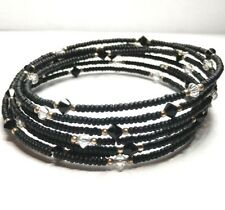 Crystal Spiral Wrap Bracelet B0634 Silpada Sterling Silver Black Bead