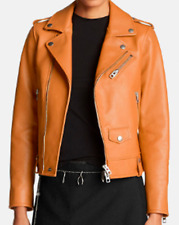 Coach Women's Fashion Moto Leather Jacket, Butterscotch, Size 0