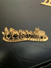 Missouri Jaycee Vintage Clydesdale Horse Budweiser Carriage Pewter Lapel Pin