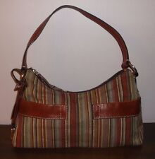 FOSSIL Brown Striped Canvas & Leather Small SHOULDER BAG ~ Ex. Cond.