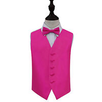 DQT Woven Plain Solid Check Fuchsia Pink Boys Wedding Waistcoat & Bow Tie Set