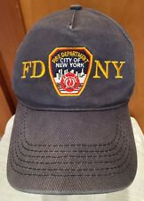 FD NY Hat Cap Fire Dept New York Embroidered Blue Faded One Size Strap Back