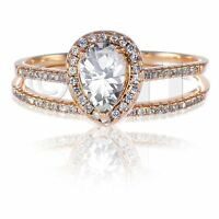 14k Rose Gold Pear Clear CZ Engagement Sterling Silver Ring Set