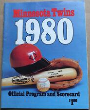 1980 Minnesota Twins Scorebook