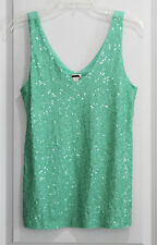 New Womens J CREW Green Sequin V-Neck Tank Top Sz S
