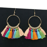 Women Fashion Bohemian Long Colorful Tassel Fringe Boho Dangle Earrings 1 Pair