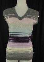 MONTEGO V-Neck Pullunder, Pulli Pullover grau-rosa-blau-lila-weiß Gr.M=38/40