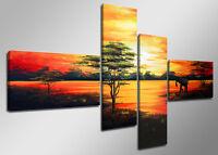 Tableau Déco Moderne Afrique Paysage 4 partie Image sur toile 160 x 70cm