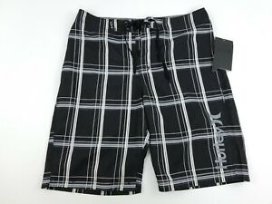 HURLEY Boys Board Shorts Swim Suit Black, Gray & White Stripes Size 20 $40