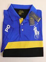 NWT $98 RALPH LAUREN Size L Men's S/S Blue Black PERFORMANCE Polo Shirt