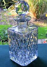 SUPERB CUT GLASS CRYSTAL SQUARE WHISKY DECANTER + STOPPER- DIAMONDS,FANS & STARS