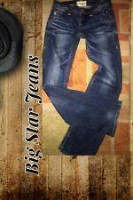 BIG STAR SOPHIE BOOTCUT JEAN~DARK DISTRESSED WASH~LOW RISE~STRETCH DENIM~27/4 L
