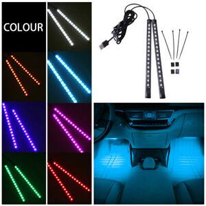2x16LED Universal USB Car Auto  Ice Blue Interior Lamp Atmosphere Light Ambient