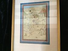 """Antique Indian Mughal Persian Islamic painting """"Hunting Deer With Leopards 18thC"""