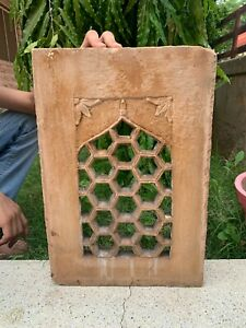 Vintage Rare Hand Carved Mughal Two Color Stone Jharokha Jali Cut Wall Window