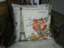 Paris Eiffel Tower Vintage France embroidered 18x18 throw Down complete pillow