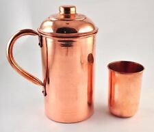 Handmade pure Copper Vessel Drink ware Pitcher (Jug) and mug set for water india