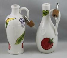 Cruets Oil & Vinegar Handpainted with Cork Stoppers Everything Salad