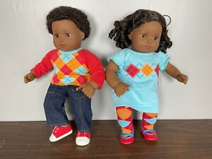 """American Girl Doll Bitty Baby African American Twins Boy Girl Argyle Outfit 15"""""""