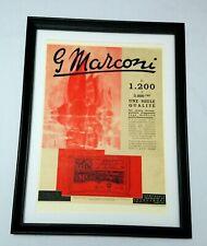 Art Deco anuncio Radio Marconi 1938 Original Enmarcado Excelente Estado